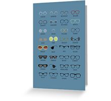 Glasses - Blue Background Greeting Card