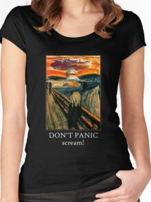 Don't Panic - Scream! Women's Fitted Scoop T-Shirt
