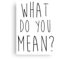 Justin Bieber What Do You Mean Canvas Print