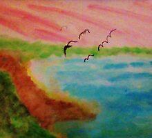 Birds Eye View,Blacks Beach?  watercolor by Anna  Lewis, blind artist