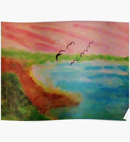 Birds Eye View,Blacks Beach?  watercolor Poster