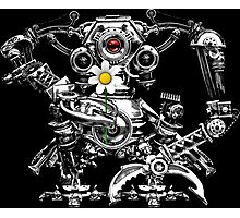 Cyberpunk Vintage Robot with Flower Photographic Print