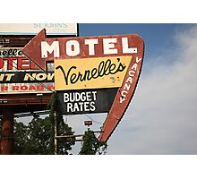 Route 66 - Vernelle's Motel Photographic Print