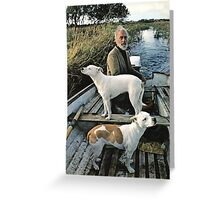 Beard Man Dogs Boat Greeting Card