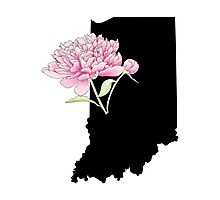 Indiana Silhouette and Flowers Photographic Print