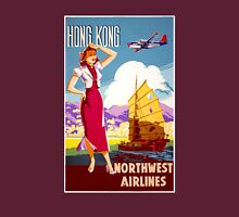 Hong Kong Vintage Travel Poster Restored Womens Fitted T-Shirt