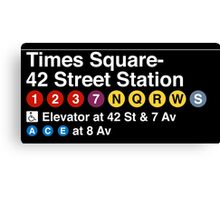 Times Square - 42 Street Station Subway Sign Canvas Print