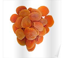 Dried apricots on a white background Poster