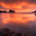 Piha Turns Orange by Michael Treloar