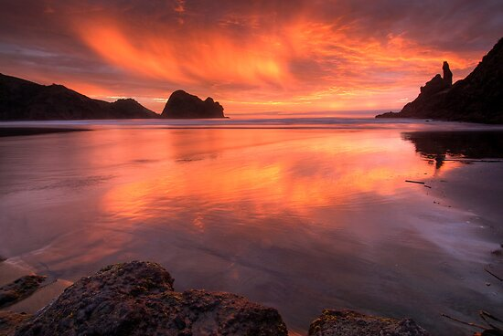 Piha Turns Orange by Michael Treloar