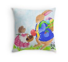 Easter Rabbit and Heddy hedgehog Throw Pillow