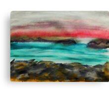 Big Rocks on shore, watercolor Canvas Print