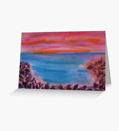 Small Rocks on Shoreline, Looking Out to Sea, watercolor Greeting Card