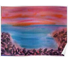 Small Rocks on Shoreline, Looking Out to Sea, watercolor Poster