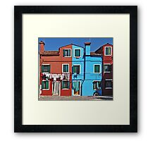 Burano-washing day Framed Print