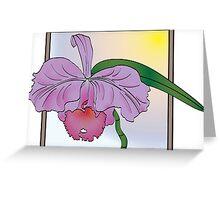 Silky Purple Cattleya Orchid Greeting Card