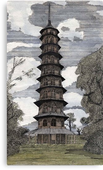 44 - THE PAGODA - KEW GARDENS - WATERCOLOUR & INK - DAVE EDWARDS - 1986 by BLYTHART