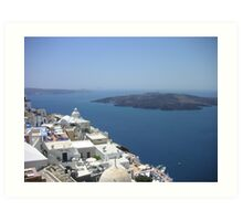 View of Santorini, Palea & Nea Kameni islands Art Print
