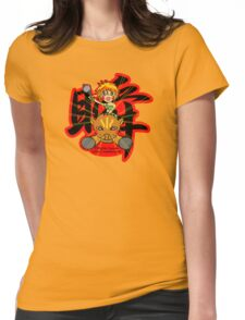 Wild girl and pig (Flash) Womens Fitted T-Shirt