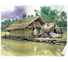 Houseboat for fishing and living Poster