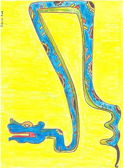 Blue Snake Flying in Yellow Sky or Zaquicaz by Chris Hammond
