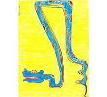 Blue Snake Flying in Yellow Sky or Zaquicaz Photographic Print
