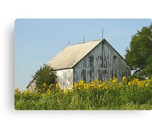 Old World Timber and Sunflowers Canvas Print