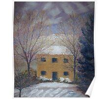 Farmhouse, Winter Dawn Poster