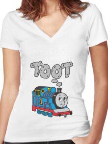 Prosti-TOOT! White Text Women's Fitted V-Neck T-Shirt