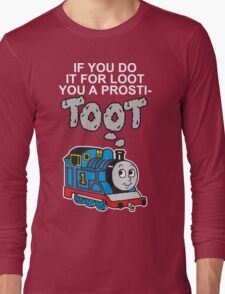 Prosti-TOOT! White Text Long Sleeve T-Shirt