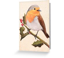 a robin on a holly berry tree Greeting Card