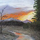 Sunset over purple mountains by P. Leslie Aldridge