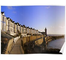 Cornwall: Evening Light at Porthleven Poster