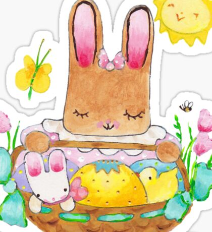 little girl bunny and basket Sticker