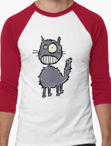the cat is easily scared Men's Baseball ¾ T-Shirt