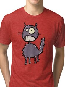 the cat is easily scared Tri-blend T-Shirt