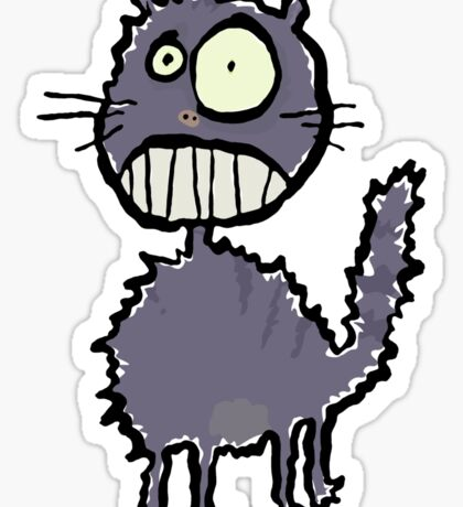 the cat is easily scared Sticker