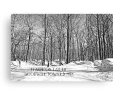 Christmas Greeting Card - Peace on Earth - Snowy Woods Canvas Print