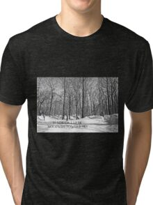 Christmas Greeting Card - Peace on Earth - Snowy Woods Tri-blend T-Shirt