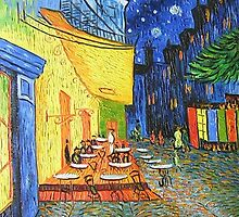 Cafe Terrace at Night Oil Painting by yelia0722
