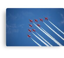 Red arrows flying 'V' (RIAT 2009) Canvas Print