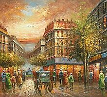 Paris Street Oil Painting HS0208 by yelia0722