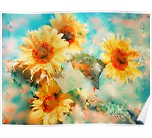 Sunflowers SUPPORT JAPAN EARTHQUAKE AND TSUNAMI RELIEF Poster