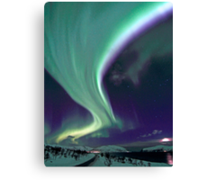 Aurora Borealis by the road Canvas Print