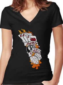 Born Lucky (large) Women's Fitted V-Neck T-Shirt