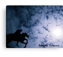hourse in sky sun moon Canvas Print