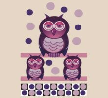 Owl family with polka dots by walstraasart