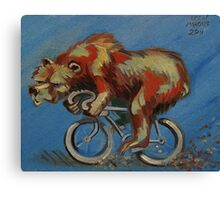 Grizzly on a Bicycle Canvas Print