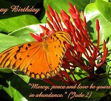 Birthday card butterfly Jude 2 by hummingbirds