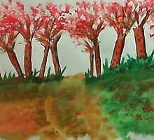 More thicker trees on the hill in abstact/casual, watercolor by Anna  Lewis, blind artist